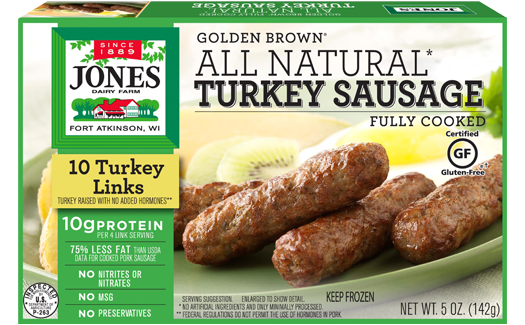 Jones Dairy Farm All Natural Golden Brown Turkey Sausage Links Package