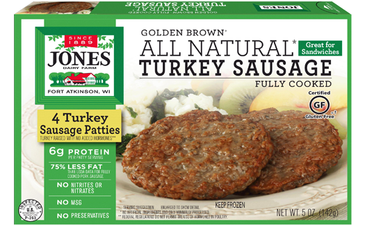 Jones Dairy Farm All Natural Golden Brown Turkey Sausage Patties Package